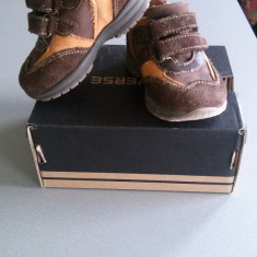 Pantofi adidasi unisex 20 - Adidasi copii Melania, Culoare: Maro, Piele naturala