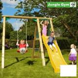 Complex leagan pentru copii Jungle Gym Peak - tobogan verde mar