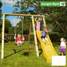 Complex leagan pentru copii Jungle Gym Peak - tobogan verde mar