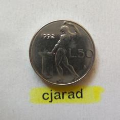 Moneda 50 Lire - ITALIA, anul 1992 *cod 892 ---- A.UNC