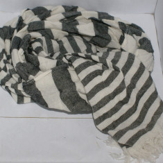 Esarfa unisex ZARA gri cu bej descris dimensiunea 178 X 40 cm - Esarfa, Sal Dama Zara, Marime: Marime universala