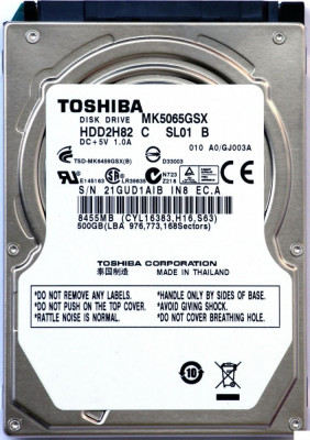 HDD Laptop Toshiba 500GB 5400RPM 8MB CACHE SATA2 MK5076GSX foto
