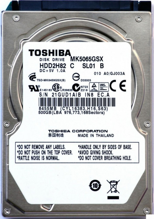 HDD Laptop Toshiba 500GB 5400RPM 8MB CACHE SATA2 MK5076GSX foto mare