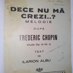 Partitura De ce nu ma crezi ? dupa Frederic Chopin Etude Op. 10 Nr. 3