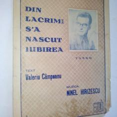 Partitura tango - Din lacrimi s-a nascut iubirea Muzica: Ninel Hirizescu