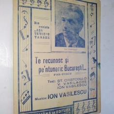Partitura Fox Trott - Te recunosc si pe-ntuneric Bucuresti de Ion Vasilescu