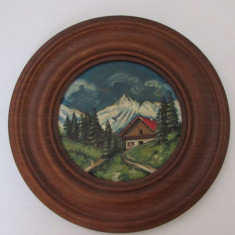 APLICA-PEISAJ-CABANA INTRE BRAZI-pictata pe lemn