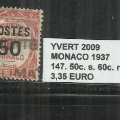 MONACO 1937 - 147. 50 C. S. 60 C., Stampilat