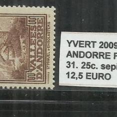 ANDORA 1932 - 33 FRANCAIS - 31. 25 C., Stampilat
