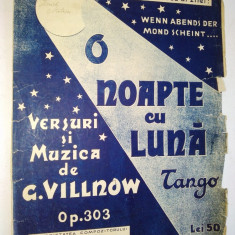 Partitura Tango - O noapte cu luna Muzica de G. Villnow