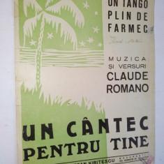 Partitura tango -Un cantec pentru tine Muzica: Claude Romano