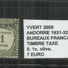 ANDORA 1931 BUREAUX FRANCAIS TIMBRE TAXE - 9. 1 C., Stampilat