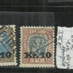 ISLANDA [YVERT 2008 ] 1924 - 26 - III. 10 K. S 50 A. SUPRATIPAR, Stampilat