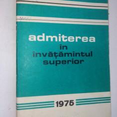 Admiterea in invatamantul superior - 1975 - Teste admitere facultate