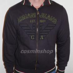 Bluza ARMANI JEANS - Model cu Fermoar - NOUA COLECTIE !!! - Bluza barbati, Marime: L, XL, Culoare: Maro, Bumbac