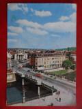 SEPT15-Vedere/Carte postala-Oradea-Teatrul de stat-tramvaie in prim plan