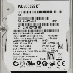 HDD Laptop Western Digital 500GB 7200RPM 16MB CACHE SATA2 WD5000BEKT Scorpio Black