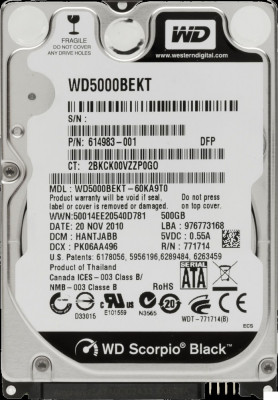 HDD Laptop Western Digital 500GB 7200RPM 16MB CACHE SATA2 WD5000BEKT Scorpio Black foto