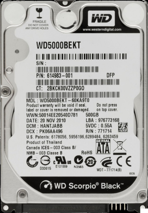 HDD Laptop Western Digital 500GB 7200RPM 16MB CACHE SATA2 WD5000BEKT Scorpio Black foto mare