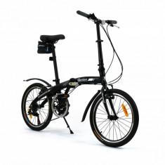 Bicicleta pliabila (aluminiu) unisex Qeridoo QL - negru, model 2016 - Bicicleta pliabile, Numar viteze: 7, Negru mat