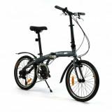 Bicicleta pliabila (aluminiu) unisex Qeridoo QL - gri, model 2016 - Bicicleta pliabile, Numar viteze: 7, Gri metalizat