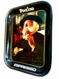 Tava metalica pentru servire cafea cu reclama ESPRESSO Poccino anii '80