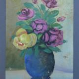 Pictura Ulei pe Carton foarte Vechi, Nesemnat, Flori, Realism