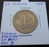STATELE AFRICANE DE VEST 25 FRANCS 1997 KM 9, Africa, Cupru (arama)