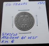 STATELE AFRICANE DE VEST 50 FRANCS 1976 KM 6, Africa, Cupru (arama)
