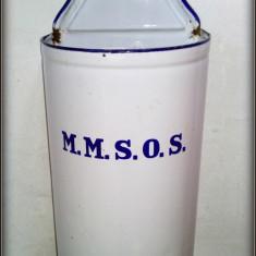 Irigator interbelic tabla emailat / email cu marcajele M.M.S.O.S si Crucea Rosie - Metal/Fonta, Vase