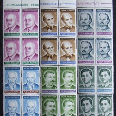 ROMANIA 1299/1992 - PERSONALITATI 6 VALORI IN BLOC, NEOBLITERATE - RO 0416, Romania de la 1950