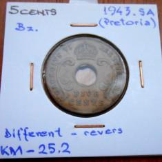 AFRICA DE EST 5 CENTS 1943 KM 25.2, An: 1978, Cupru (arama)
