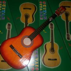 Chitara clasica incepatori cu corzi de metal si pana culoare orange