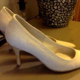 Pantofi din in - Pantof dama, Culoare: Bej, Marime: 36, Textil, Cu toc