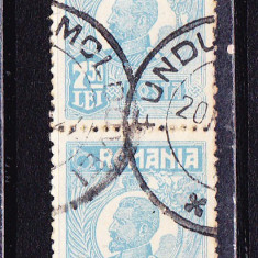 Timbre ROMANIA 1920-27 = FERDINAND BUST MIC 7, 50 lei PERECHE 2 V. ST., Stampilat