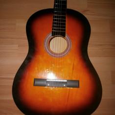 Chitara clasica incepatori cu corzi de metal si pana culoare orange - negru