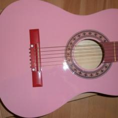 Chitara clasica incepatori cu corzi de metal si pana culoare roz model 2/4