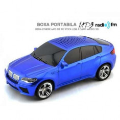 Mini Boxa portabila MP3 player + radio fm usb masina BMW X6 ALBASTRU - Aparat radio