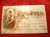 Ilustrata Lucerna , Gruss- Litografie , circ. 1898 , cu goarna 72 - Elvetia, Circulata, Printata