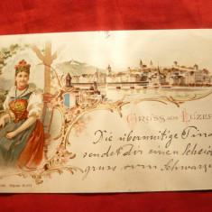 Ilustrata Lucerna, Gruss- Litografie, circ. 1898, cu goarna 72 - Elvetia, Circulata, Printata