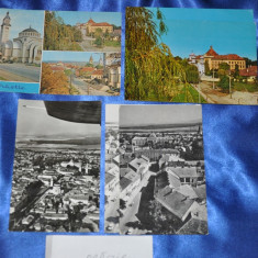 Lot 4 CP ORASTIE (Hunedoara). (Carti postale vechi, Vederi Romania), Circulata, Fotografie, Romania de la 1950