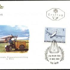 AUSTRIA 1968 – AVIATIE, AVIOANE DE TRANSPORT PASAGERI, 3 FDC-uri (3 IMAGINI)