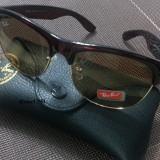 Ochelari Ray Ban Clubmaster Wayfarer + Toc - Ochelari de soare Ray Ban, Unisex, Maro, Protectie UV 100%
