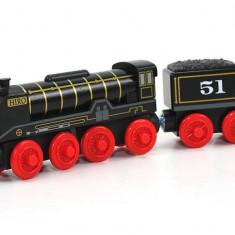 Locomotiva Hiro cu vagonul sau, colectia Thomas si prietenii sai - Trenulet Fisher Price, 4-6 ani, Lemn, Baiat
