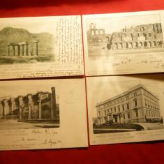 Set 9 Ilustrate Grecia- Ruine Antice, circ. la Targoviste 1901 -marca fixa, Circulata, Printata