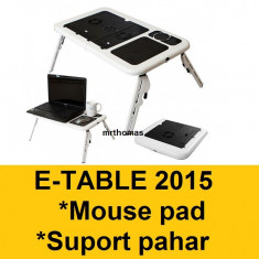 E-table Masa Masuta Suport notebook laptop 2 coolere + mouse pad suport pahar - Masa Laptop