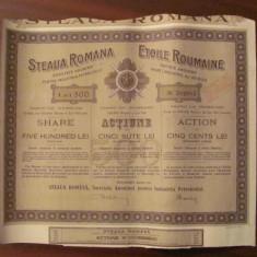 CY - Actiune / actiuni 500 lei STEAUA ROMANA 1944 industrie petrol, Romania 1900 - 1950