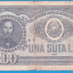 (25) BANCNOTA ROMANIA - 100 LEI 1952, REP. POPULARA ROMANA, SERIE DIN 1 CIFRA - Bancnota romaneasca