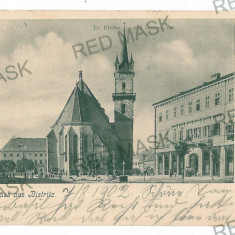 3073 - Litho, BISTRITA, Church & High School - old postcard - used - 1902 - Carte Postala Transilvania pana la 1904, Circulata, Printata