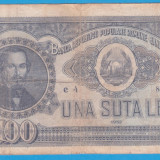 (10) BANCNOTA ROMANIA - 100 LEI 1952, REP. POPULARA ROMANA, SERIE DIN 1 CIFRA - Bancnota romaneasca